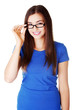 Portrait of young beautiful woman in eyeglasses.