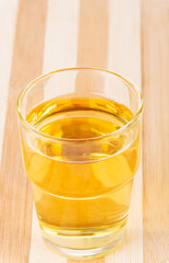 Apple juice in glass.