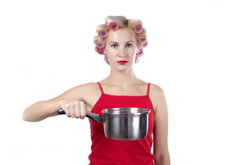 Woman with pan b