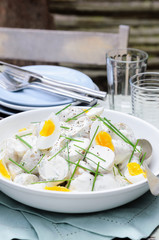 Potato salad with egg and chives