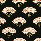 seamless japanese folding fan floral fabric background