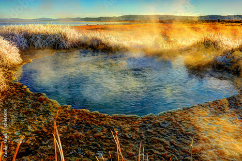 A Mono Lake geothermal pool steams at sunrise