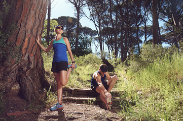 trail runners stretching