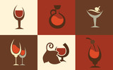 alcohol symbols, wine and cocktails in flat style
