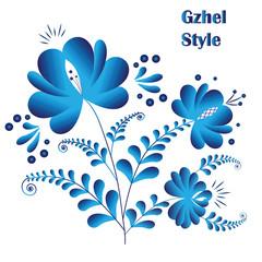 Blue flowers in gzhel style