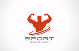 Logo Sportsman silhouette. Sport Fitness club icon