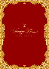 Gold Vintage Frame vector High Detail Border retro style