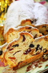 Christmas stollen sliced ??closeup.