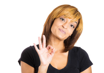 Happy, positive young woman showing ok sign