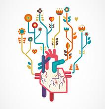 Amour de fond avec le coeur et fleurs, Saint-Valentin