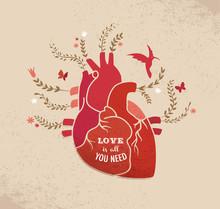 Liebe Hintergrund mit Herzen und Blumen, Valentines