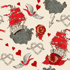 Seamless Vintage pattern with ship for Valentine design