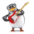 Academic penguin plays guitar