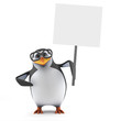 Academic penguin holds up his placard