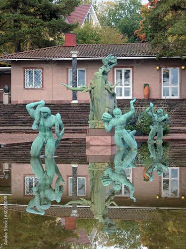 Leinwanddruck Bild Europe and the Bull Fountain in Millesgarden sculpture garden
