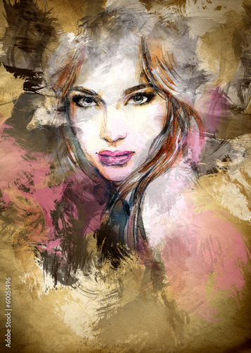 Fototapety, obrazy : Beautiful woman face. watercolor illustration