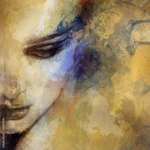 Juliste Beautiful woman face. watercolor illustration