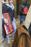 Milano, accordion street player detail color image