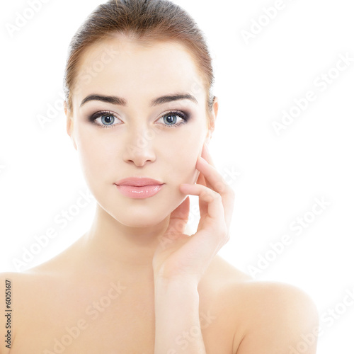 beauty girl portrait, young beautiful woman portrait with clean