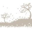 Hintergrund mit Bäumen und Wiese in beige