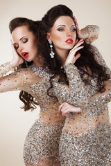 Radiance. Glam. Luxurious Women In Grey Dresses with Rhinestones