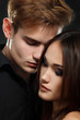 Sexy passion couple, beautiful young man and woman closeup, over