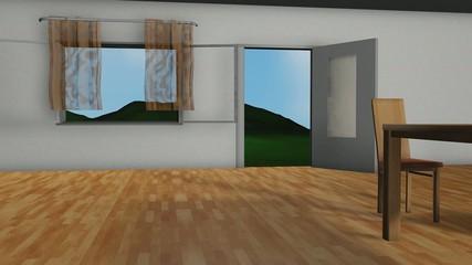 3D Animation Zimmer mit Landschaft