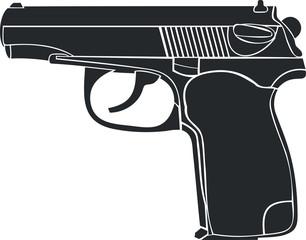 Изображение пистолета на белом фоне