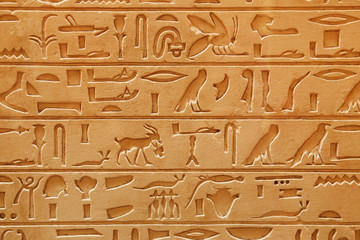 An old Egyptian pictorial writing on a sandstone