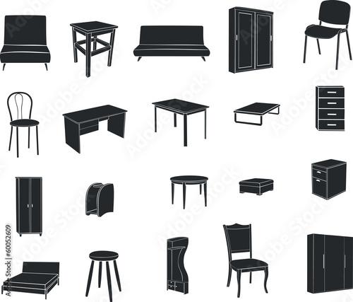 Мебель изолированная на белом фоне