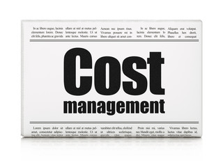 Business concept: newspaper headline Cost Management