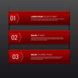 Set of three red banners - options - info graphics
