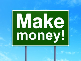 Business concept: Make Money! on road sign background