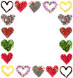 Frame of different hearts isolated on white