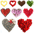 Collage of heart-shaped things isolated on white