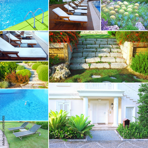 Collage with different photos of luxury touristic hotel