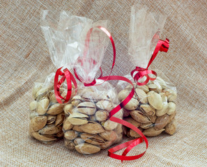 Pistachios packed in mini bags