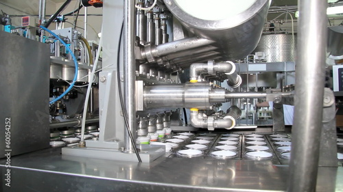 Production of yogurt in dairy factory