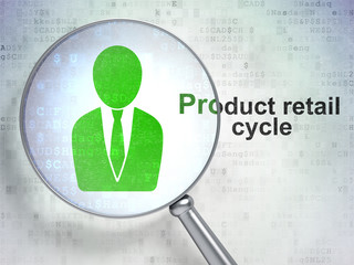 Advertising concept: Business Man and Product retail Cycle with