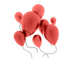 Many red balloons fly out on white