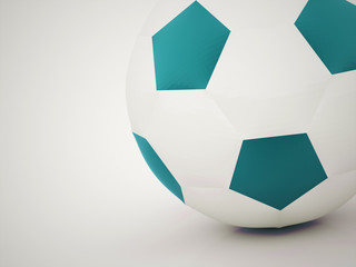 Blue football ball rendered on dark