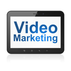 Business concept: Video Marketing on tablet pc computer