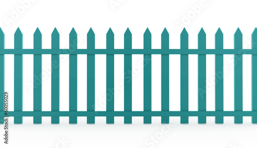 Blue vintage fence rendered on white
