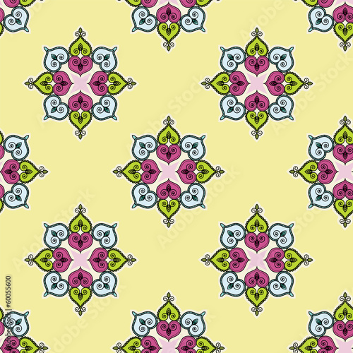 Seamless traditional indian flower background pattern
