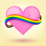 LGBT Background heart and rainbow ribbon.