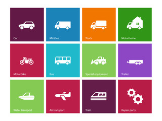 Cars and Transport icons on color background.