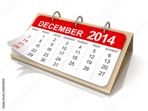 Calendar -  december 2014 (clipping path included)
