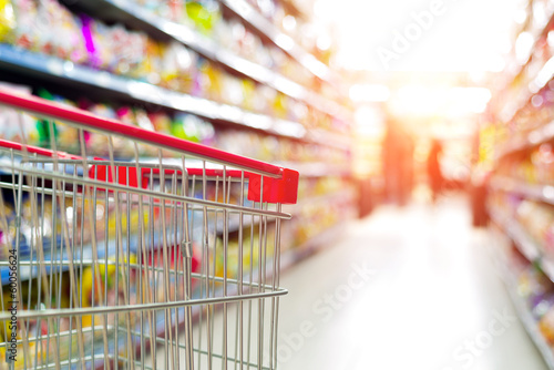 Leinwanddruck Bild supermarket cart