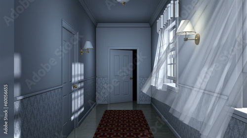 scary house hallway camera traveling high definition