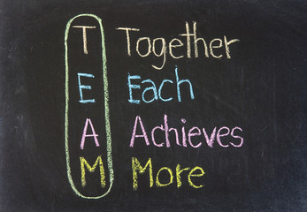 Chalk drawing - TEAM: Together, Each, Achieves, More